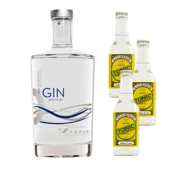 O.Gin, Biologischer Premium Gin - Destillerie Farthofer - 700ml + 12 Stück Naturfrisk - BIO Tonic Water 250ml-0
